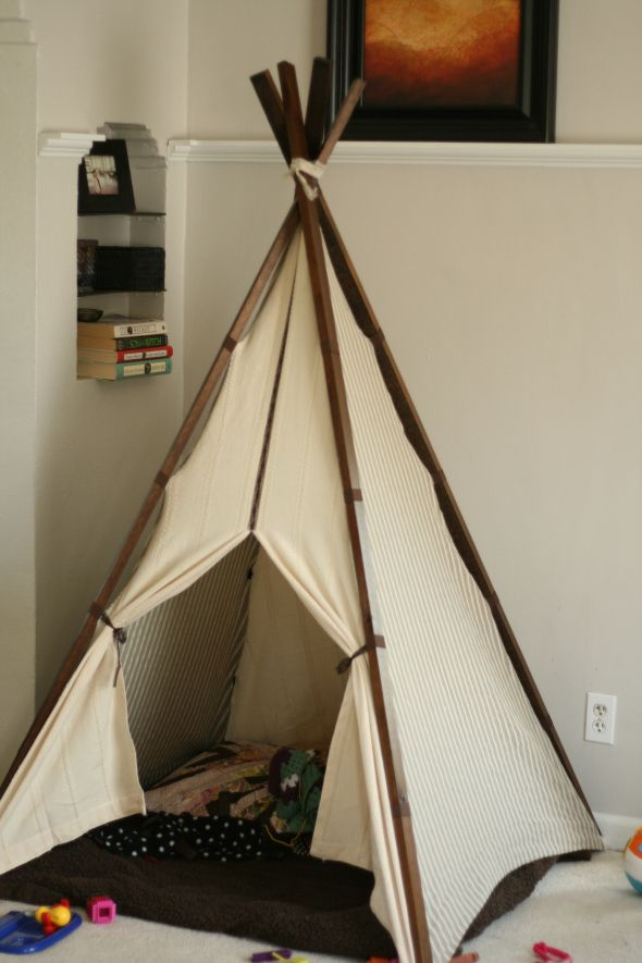 diy child s teepee aka beautifying the mess in the living. Black Bedroom Furniture Sets. Home Design Ideas