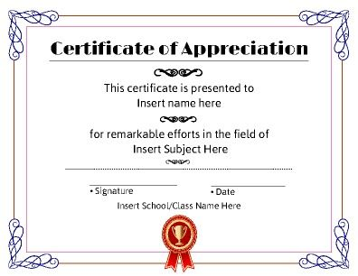 A Certificate of Appreciation Can be completely altered to fit - attendance certificate template