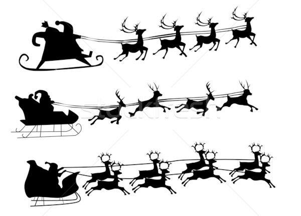 Silhouette Illustration Of Flying Santa And Christmas Reindeer Vector Illustration C Edmond Mihai V Reindeer Silhouette Silhouette Christmas Santa And Reindeer