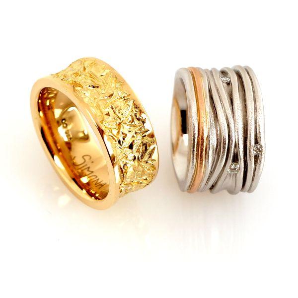Unterschiedliche Eheringe in Gelbgold Weissgold Rotgold mit