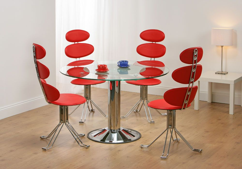 Venice Revolving Glass Dining Table + 4 Red Chairs. Truly Stunning And  Unique Dining Set
