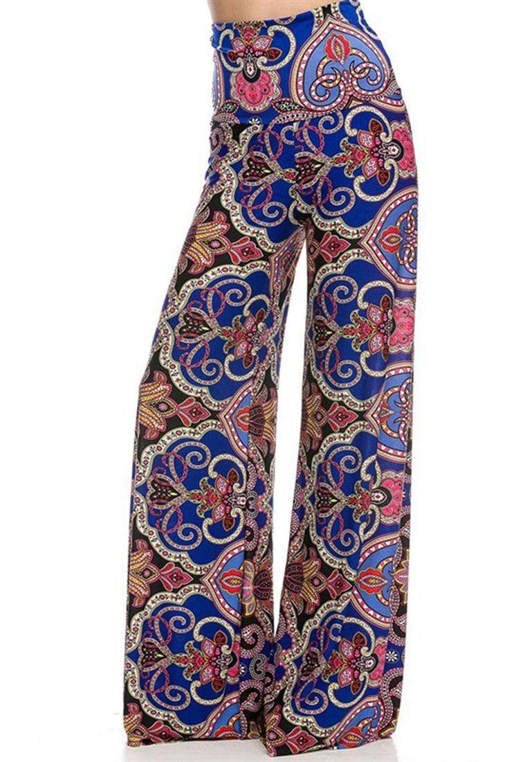 828eee34f13350 High Waist Fold Over Wide Leg Gaucho Palazzo Pants (Royal Elegance) – Niobe  Clothing
