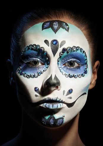 Sugar skull kryolan professional make up dia de los muertos halloween mexikanische - Mexikanische totenmaske schminken ...