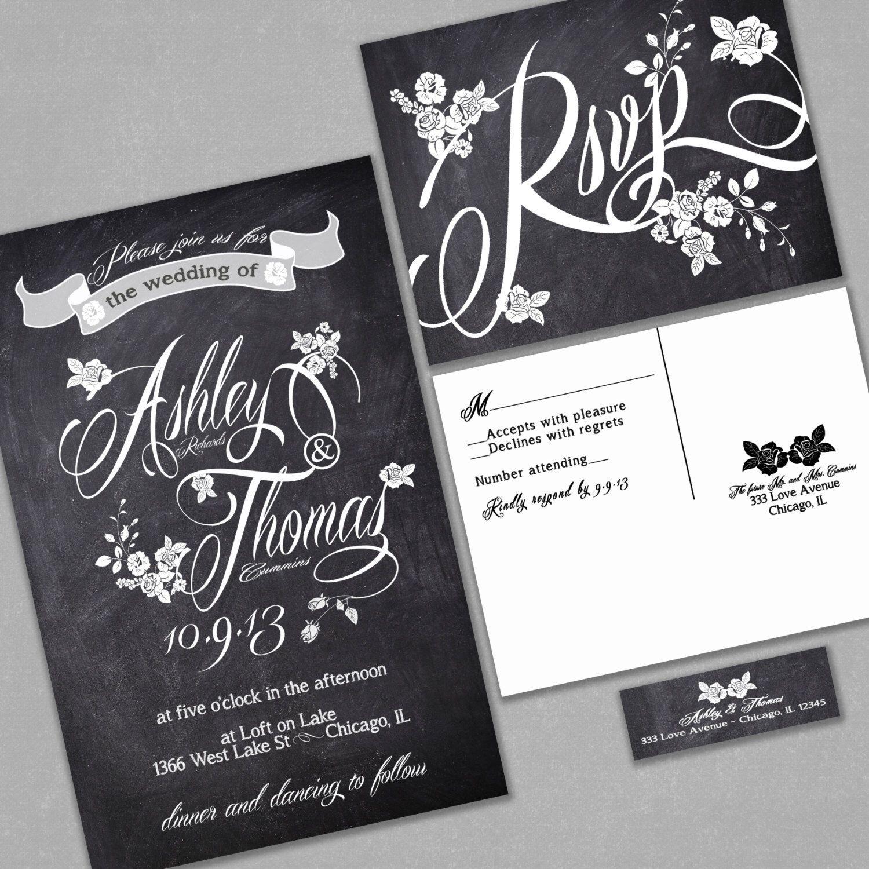 Chalkboard Wedding Invitation, Custom Typography and Roses, Black and White, Sample, Black Friday Sale, Discount Wedding Invitations by InvitingMoments on Etsy https://www.etsy.com/listing/163572502/chalkboard-wedding-invitation-custom