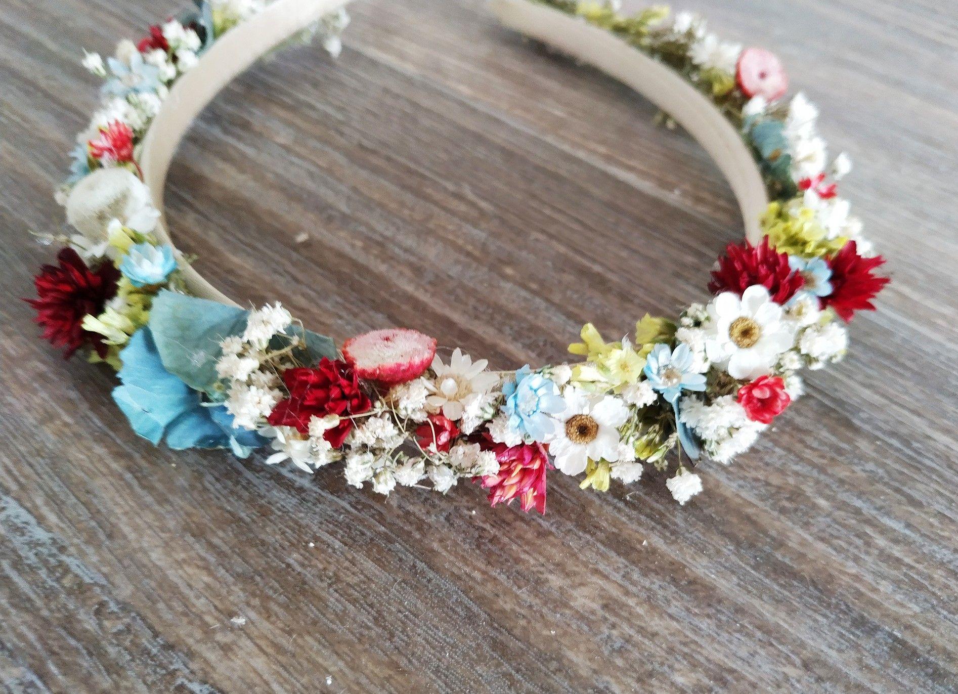 Haarkranz Trockenblumen bunt   Haarkranz, Haarkränze, Trockenblumen