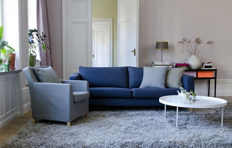 Leather Sleeper Sofa Understated elegance of dark blues paired with shades of grey Karlstad sofa cover in Ink