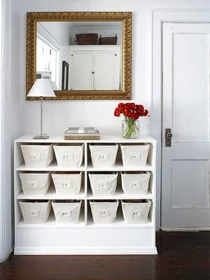 A dresser with drawers out & bins!