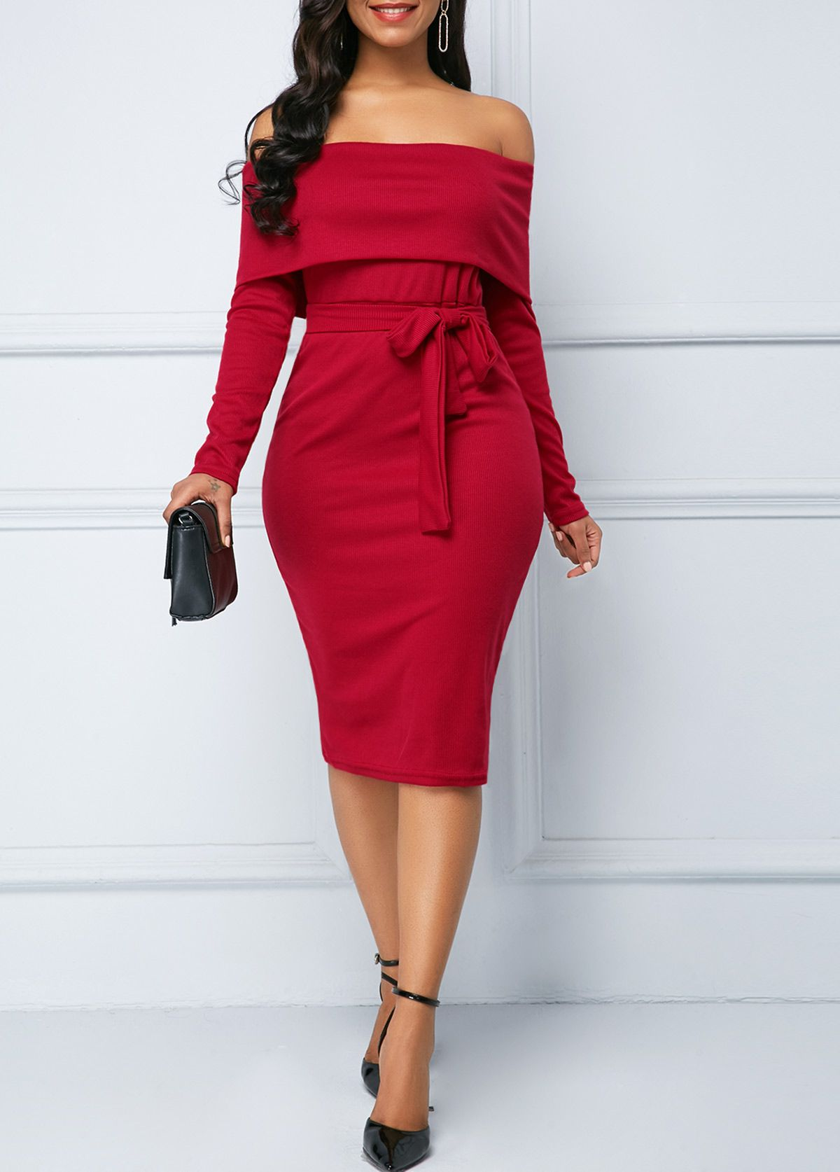 a7ae4c7554d1 Off the Shoulder Belted Wine Red Sheath Dress