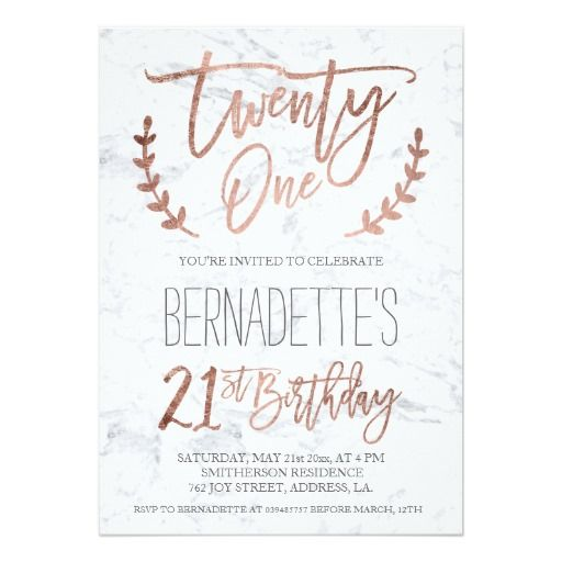 Rose gold typography feathers marble 21st Birthday Card 21st - birthday itinerary template