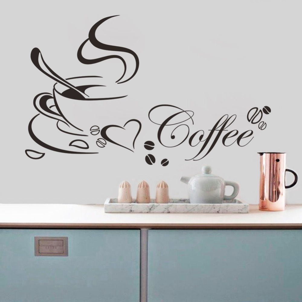 coffee cup with heart vinyl quote restaurant kitchen removable