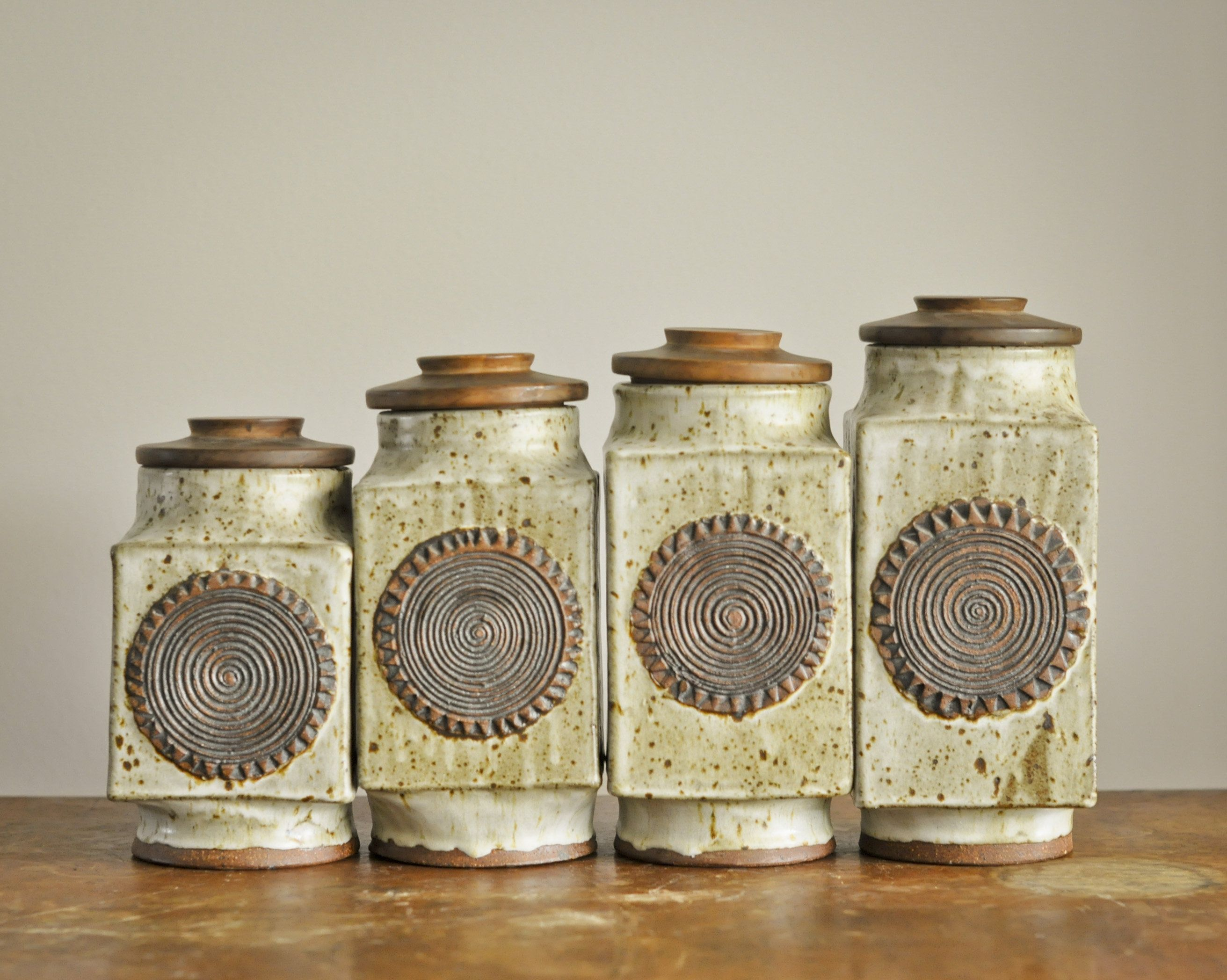 Amazing Vintage Kitchen Canister Set Handmade Studio Pottery