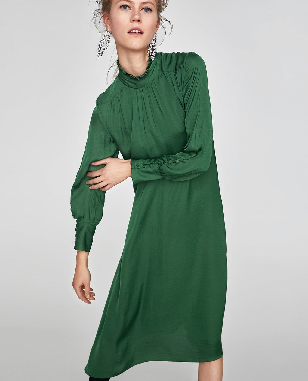 0a28b87e54b FLOWING MIDI DRESS WITH LONG SLEEVES-NEW IN-WOMAN