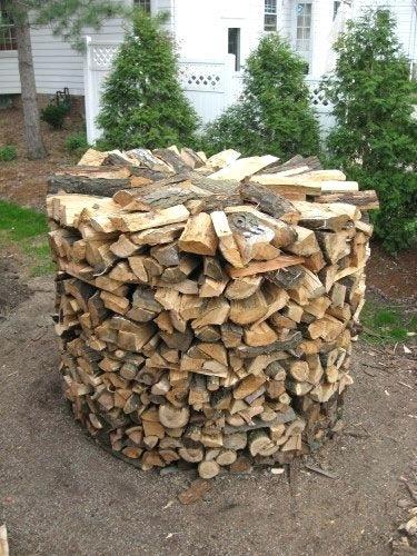 round wood stack firewood rack diy no