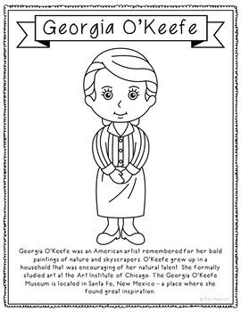 Photo of Georgia O'Keeffe, Famous Artist Informational Text Coloring Page Craft or Poster