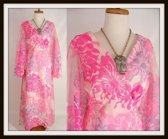 Gorgeous vintage 60s 70s Spring Pink Floral Alfred Shaheen Maxi Dress with Fluttery Angel Sleeves 18 L XL by wardrobetheglobe, $77.77