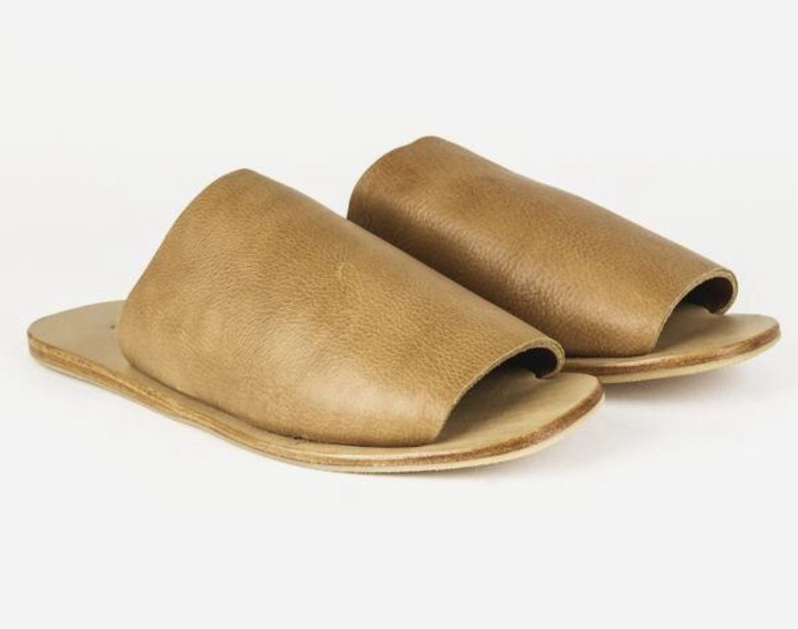 st. agni hula slides | Tan leather sandals, Stunning shoes
