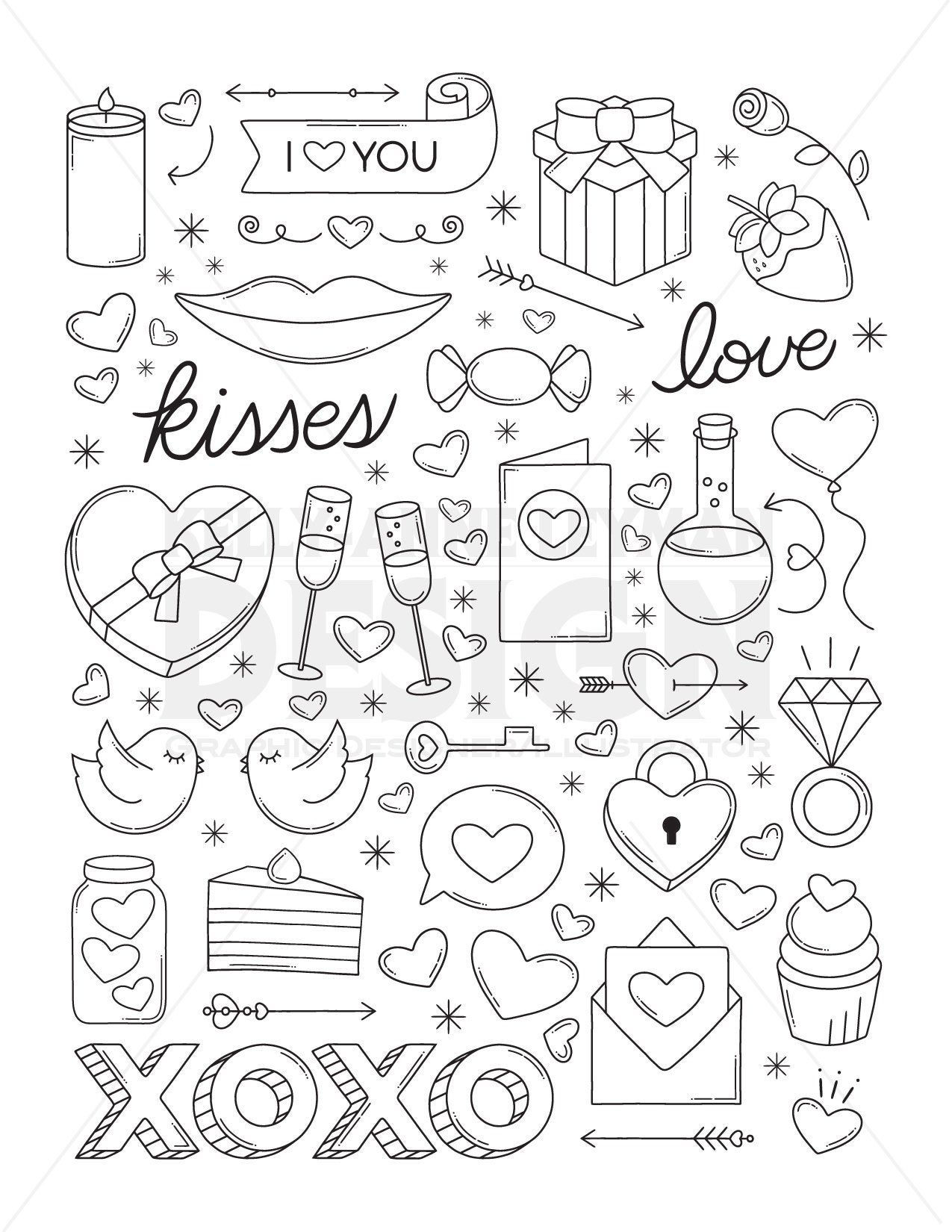 Love Printable Coloring Pages For Adults Retro Coloring Page Etsy In 2021 Printable Coloring Pages Coloring Pages Unique Coloring Pages