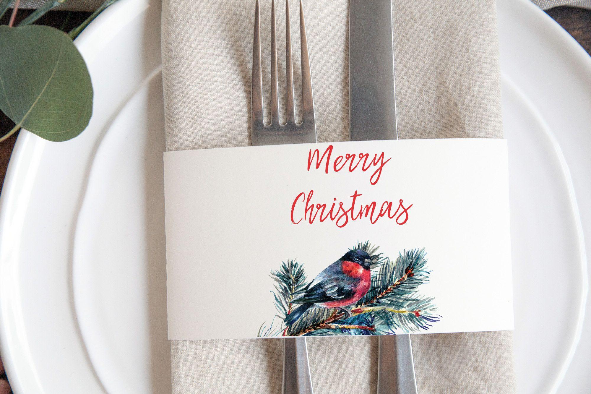 Printable Christmas Napkin Rings Woodland Style Napkin Rings Etsy Holiday Gift Tags Printable Christmas Napkins Christmas Napkin Rings