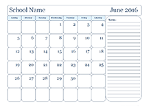 Monthly School Template With Day Boxes  Teaching
