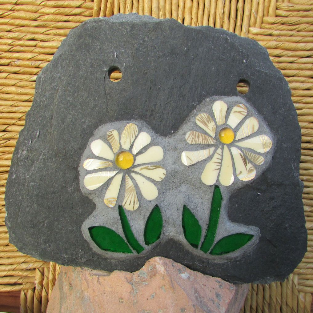 yellow and gilt gold daisy mosaic plaque on slate ~ floral gift