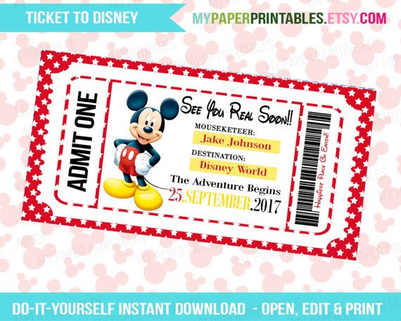 photograph relating to Disney World Printable Tickets identify Printable Ticket Towards Disney Do-it-yourself Customise Prompt Down load