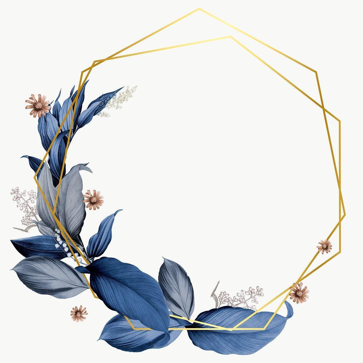 Blue Leaves With Golden Hexagon Frame Design Element 953