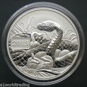 1//2 oz Silver Round 2013 Year of the Snake