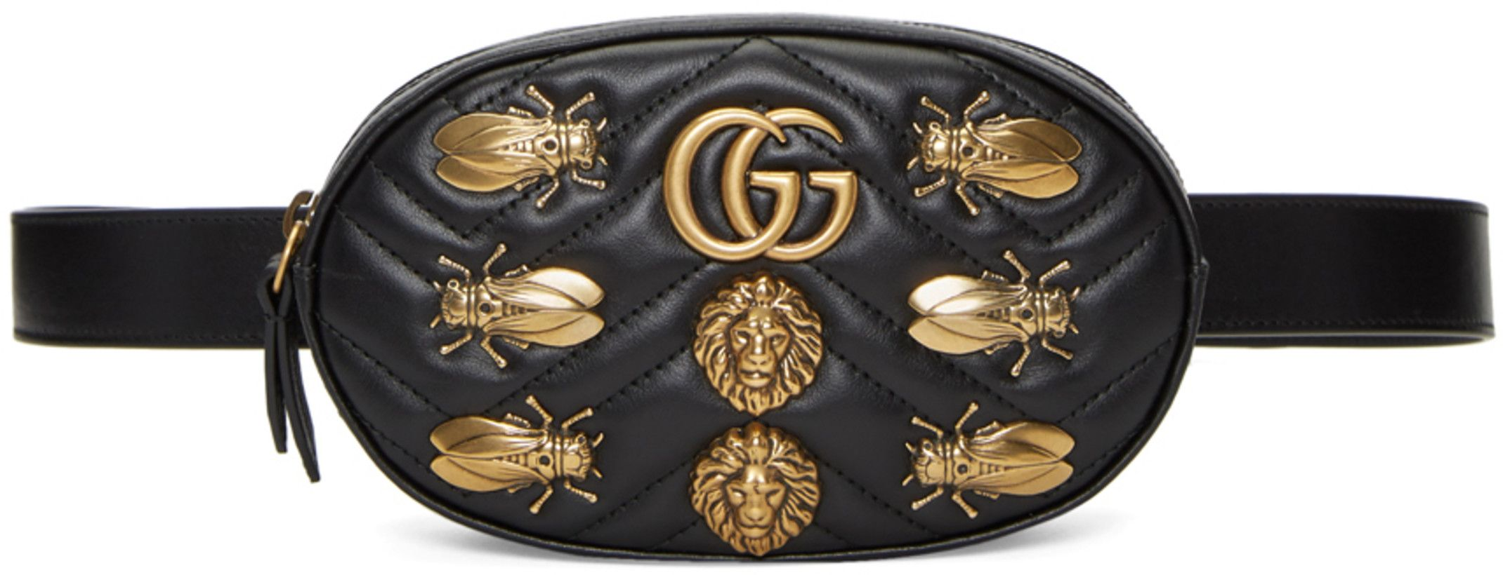 5ce51a67ef0 Gucci - Black GG Marmont Animal Studs Belt Bag