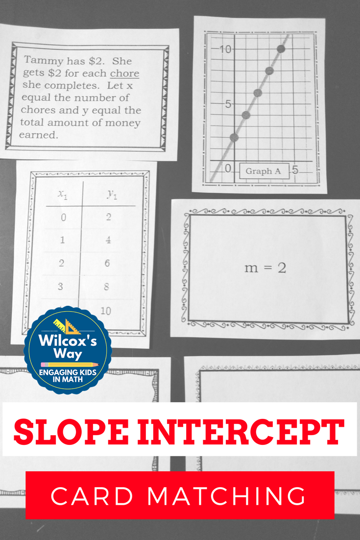 Slope intercept form card matching activity equation early practice ymx b by matching table graph equation situation falaconquin