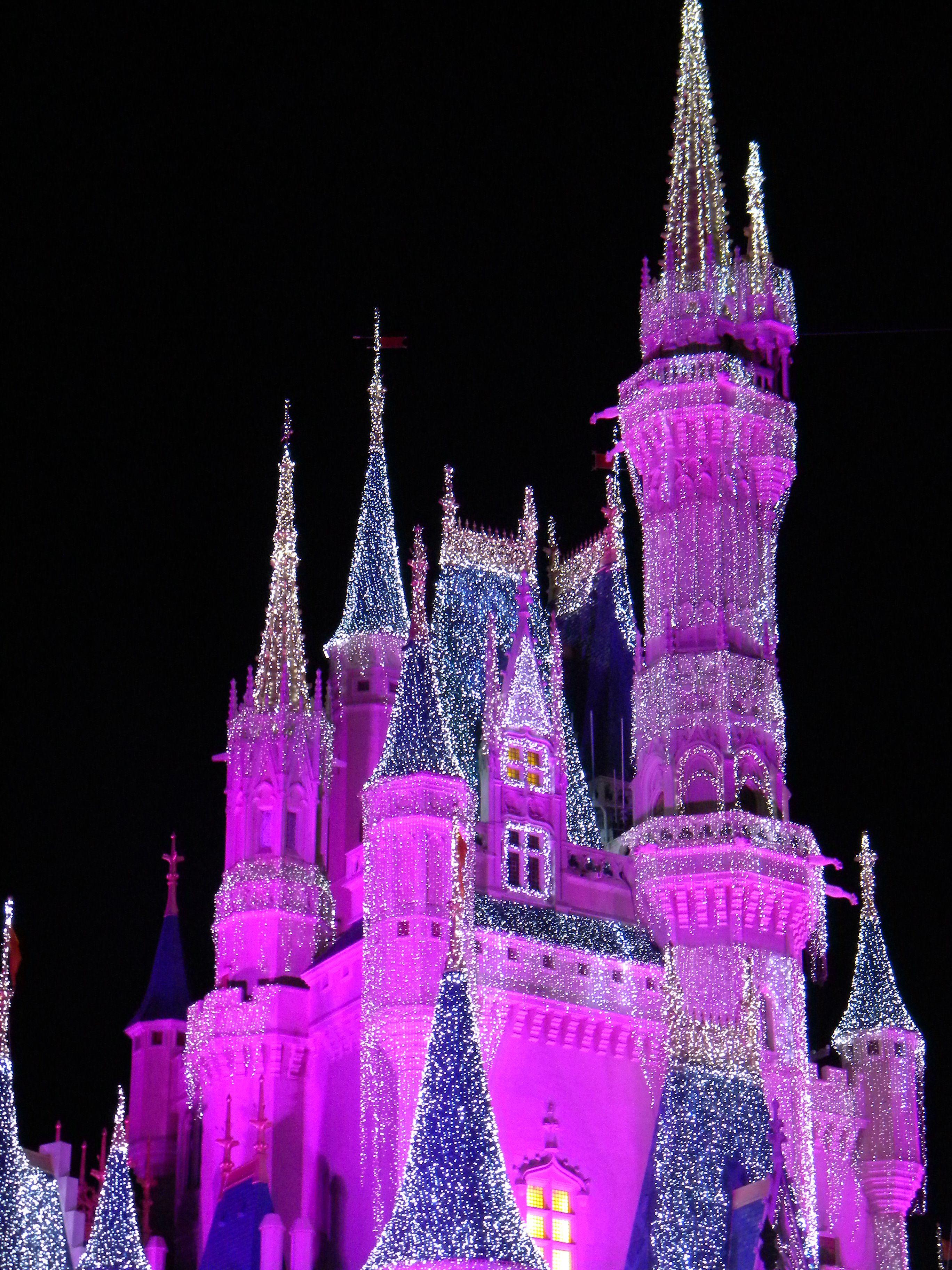 Disney World at Christmas:   Twinkling Cinderella Castle Lights