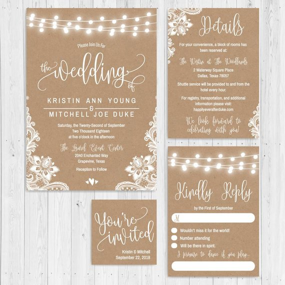 Printable Wedding Invitations With Rsvp Fl