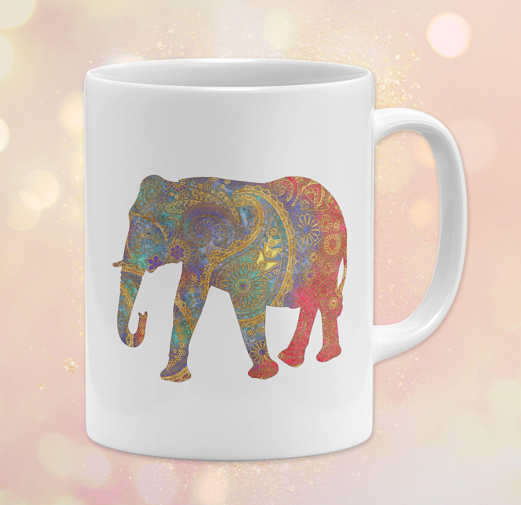 Watercolor Elephant Ceramic 11 Oz Coffee Cup Mandala Dishwasher