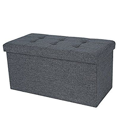Pleasing Songmics Linen Fabric Folding Storage Ottoman Bench Forskolin Free Trial Chair Design Images Forskolin Free Trialorg