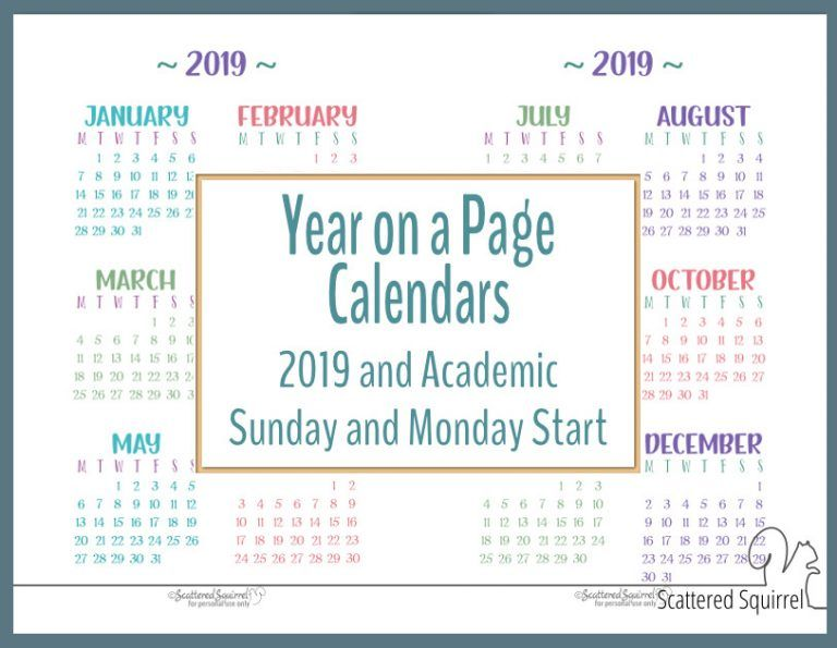 Academic and 2019 Year on a Page Calendar Printables Printables
