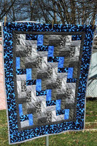 Teenage Boy Quilt Blue Flames Black Amp White Fabrics