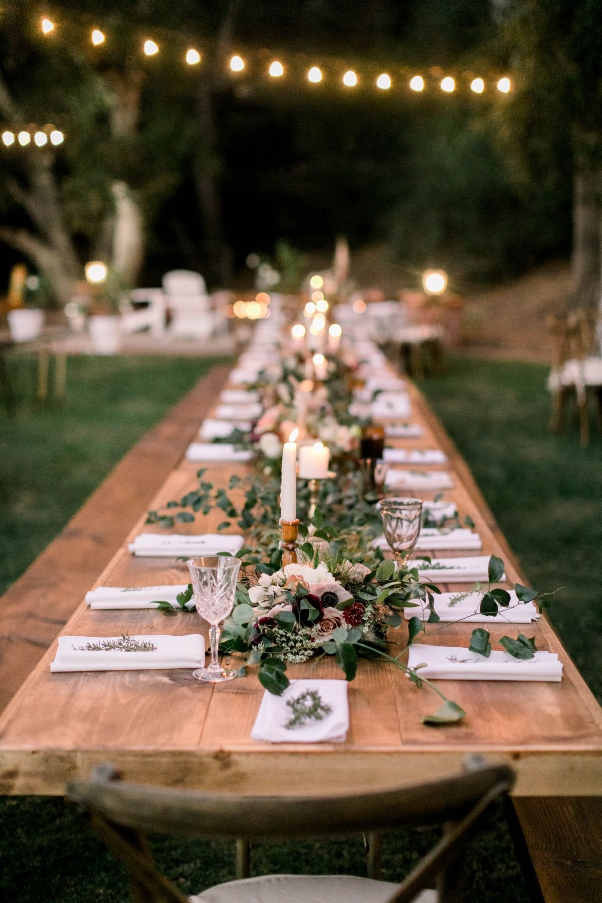 Modern Bohemian Backyard Wedding | Picnic table wedding ... on Backyard Table Decor id=76367