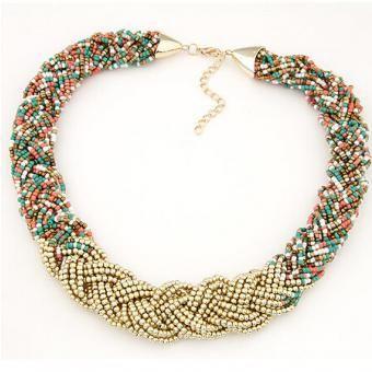 40b98edd8f3e Collar Harmonie Accesorios Multicapa Mostacilla Entrelazada Multicolor y  Dorado