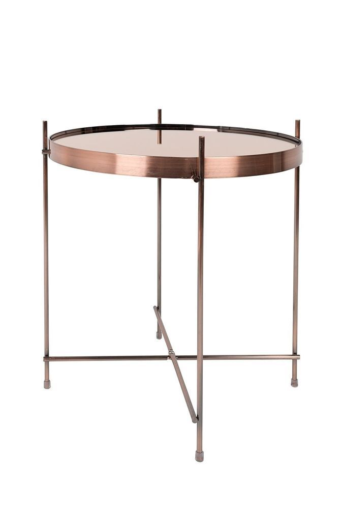 Small Metal Table Round Mirror Glass Copper Color Base Frame Modern Living Room