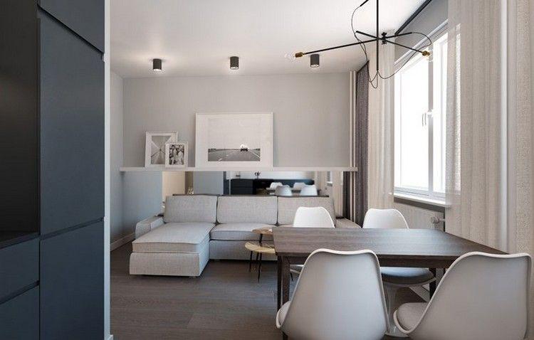 wohnungseinrichtung-ideen-wohnzimmer-spiegelwand-hinter-sofa - wohnungseinrichtung inspiration