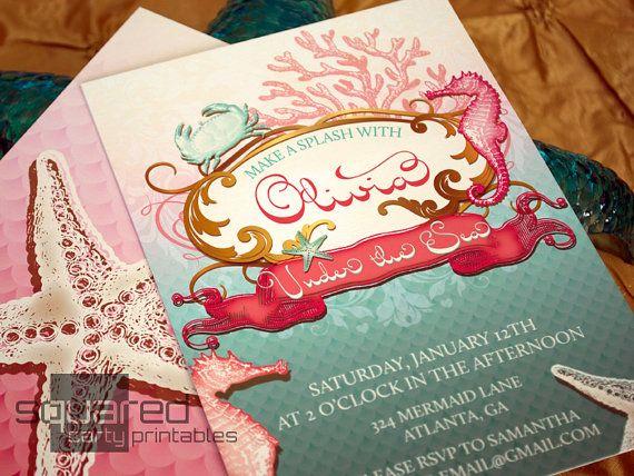 mermaid printable birthday party invitation under the sea party
