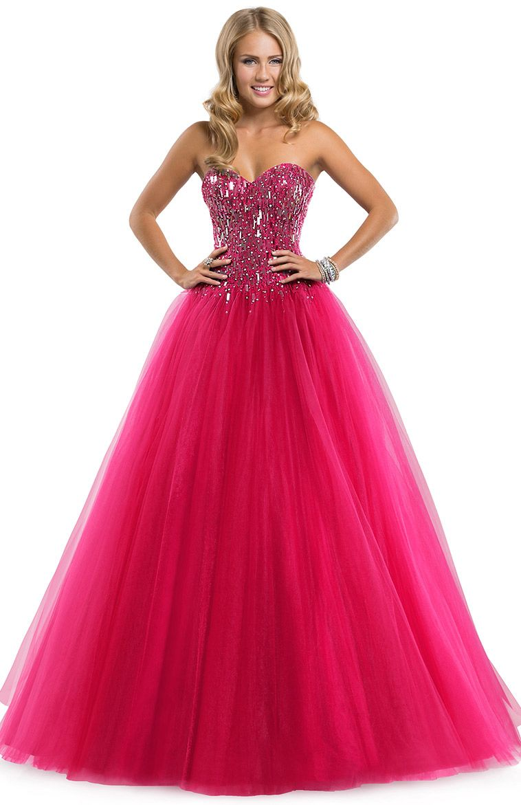 Ball gown prom dresses 2014 - Flirt Prom 2014 Dress Style Sparkle Tulle Ball Gown With Paillette Bodice