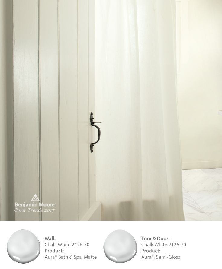 For A Clean Crisp Look In Any Bathroom Use The Paint Color Chalk White 2126 70 And Benjamin Moore S Aura Bath Spa
