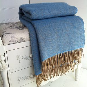 Blue And Wheat Herringbone Wool Throw - blankets & throws