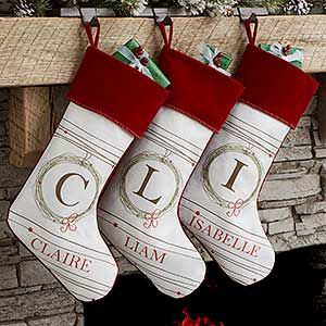 buy personalized white christmas stockings with holiday wreath design free personalization see more personalized christmas stockings at - Where To Buy Christmas Stockings