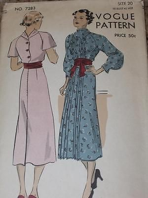 RARE 1930's VOGUE #7283 - LADIES PLEATED FRONT FROCK PATTERN  SIZE 20 ~ UNCUT