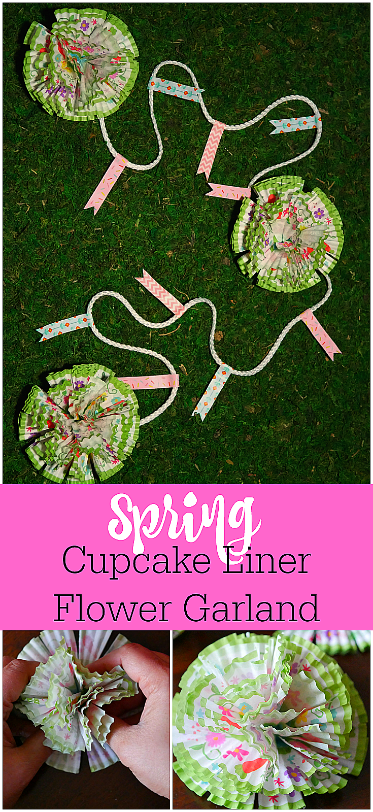 Spring Cupcake Liner Flower Garland  Simple Spring Decoration