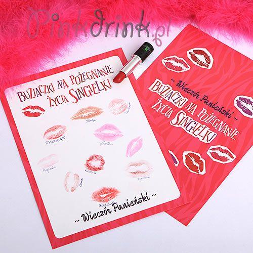 Kartka na odciski ust wszystkich dziewczyn zaproszonych na wieczór panieński to świetna pamiątka z imprezy!