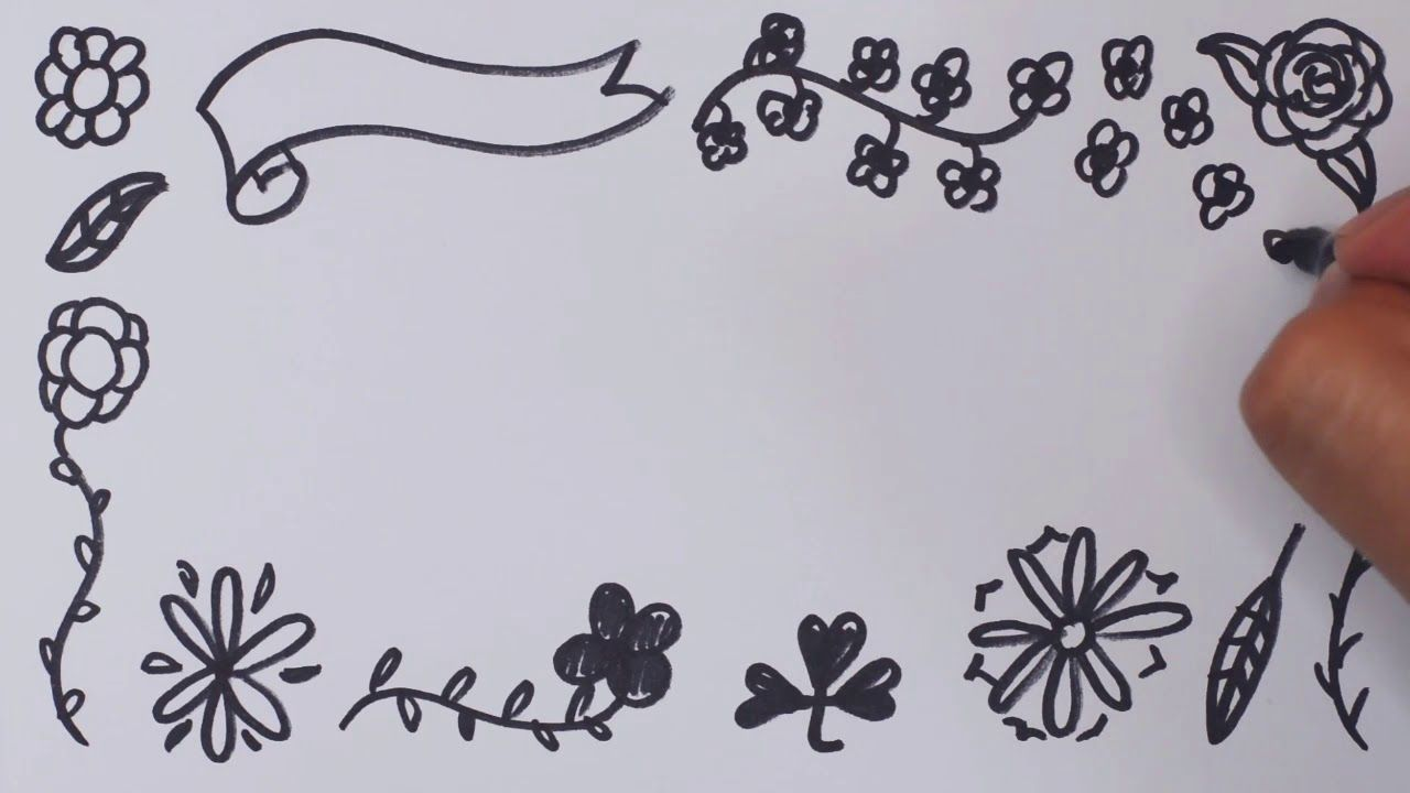 Flowers Speed Drawing رسم إطار للوحة ورود زهور ورق شجر روووعة Home Decor Decals Decor Home Decor