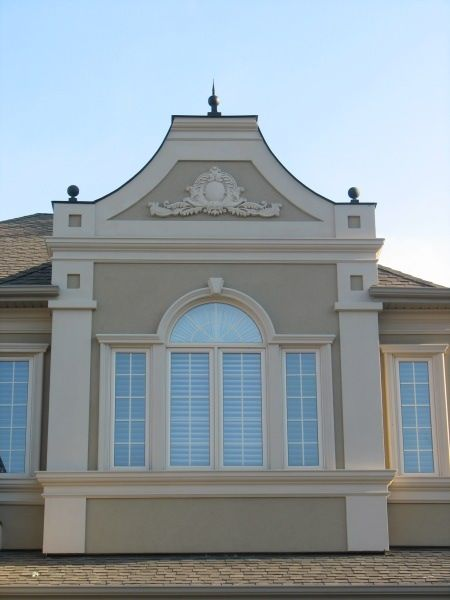 Home exterior stucco ideas google search house and for Decorative window trim exterior