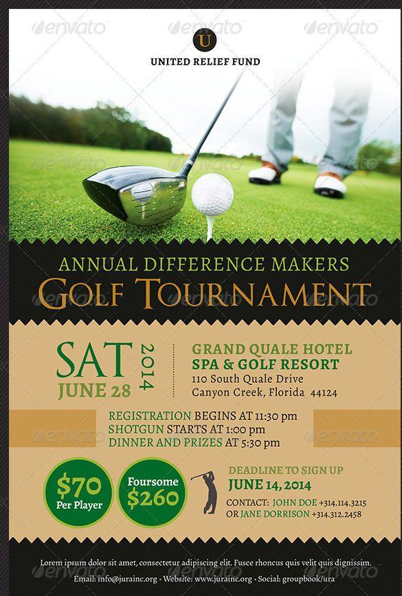 Fundraiser Flyer Template u2013 31+ Free PSD, EPS, AI Format Download - golf tournament brochure